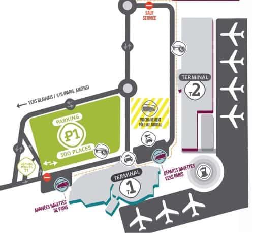 Mappa dell'aeroporto Parigi Beauvais