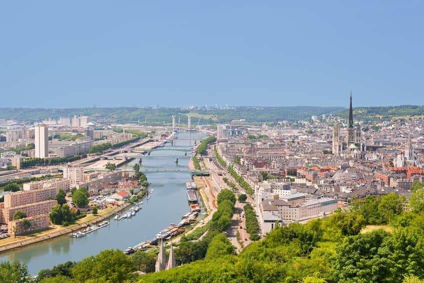 La bellissima vista su Rouen