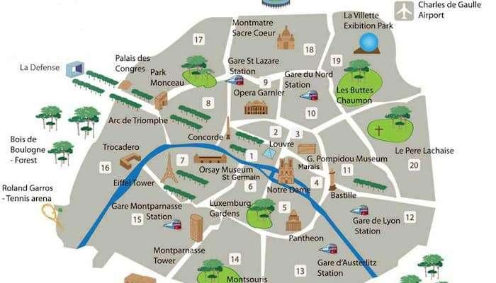 Mappa degli arrondissements di Parigi