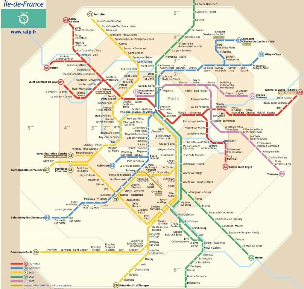 Mappa della RER