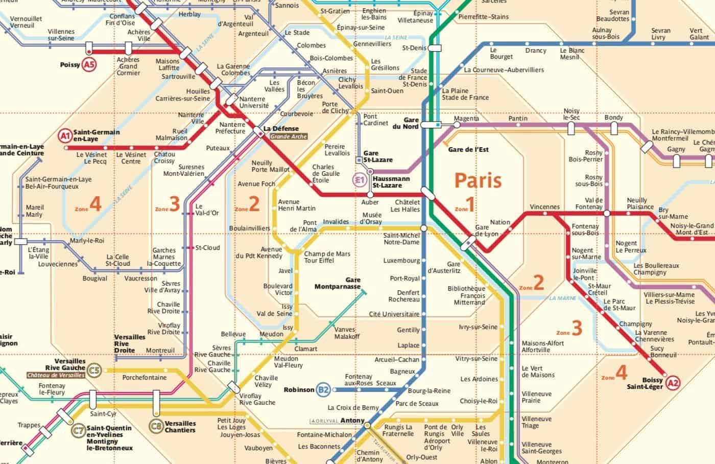 Mappa zone tariffarie di Parigi